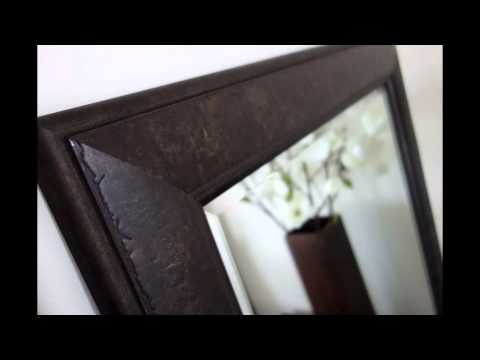 Marcello Rustic Charcoal Brown Leaner Floor Framed Mirror