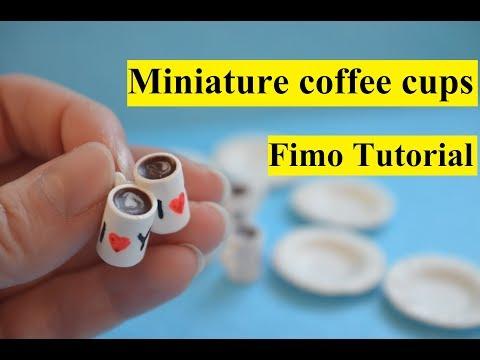 MINIATURE coffee cup polymer clay Tutorial Fimo Kaffeetasse DIY кружки из полимерной глины мк