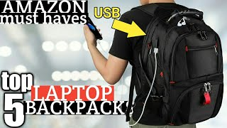 TOP 5: BEST LAPTOP BACKPACK W/ USB CHARGING PORT ON AMAZON 2020 FOR COLLEGE   LAPTOP BACKPACK REVIEW