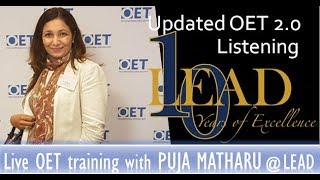 OET 2.0 Listening A LIVE training with Dr Puja Matharu