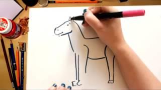 Como desenhar um Cavalo - desenhos para crianças