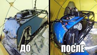 Размораживаем утонувший мотобукс... Заведется? Пуск двигателя на льду.