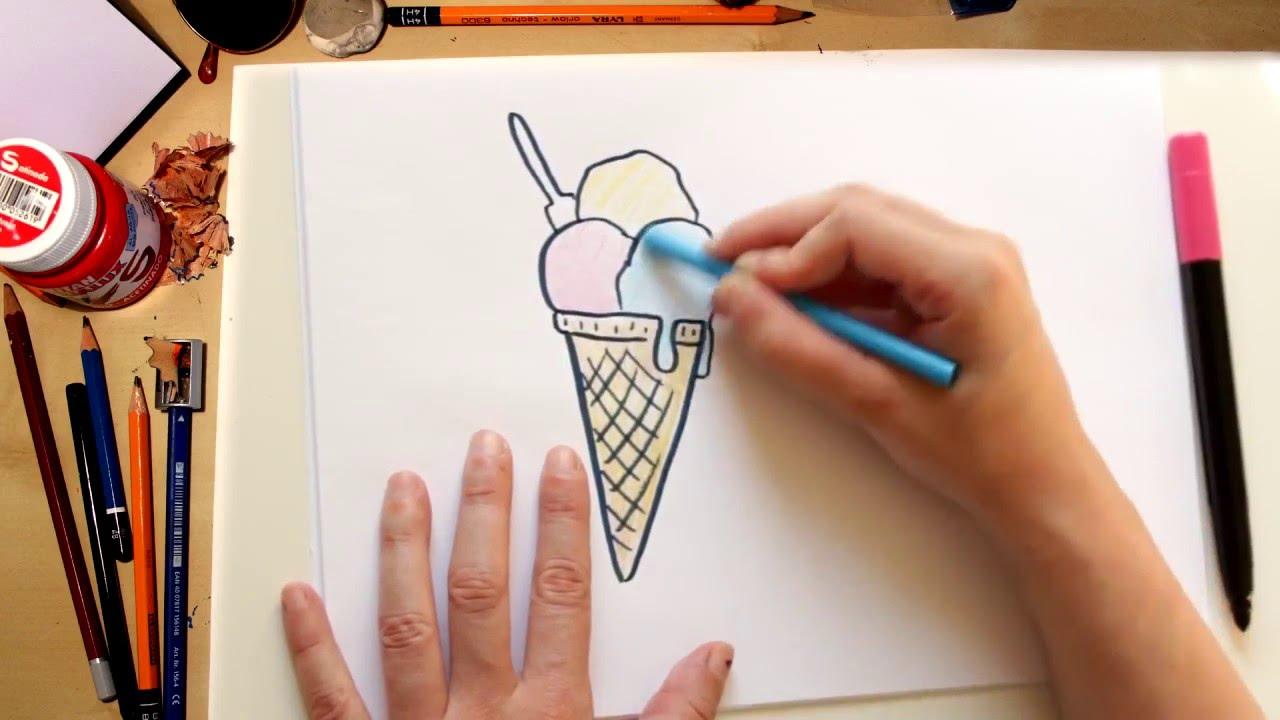 ????⚡????????Como dibujar un helado facil - dibujos de verano
