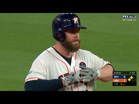 ALCS Gm6: McCann opens the scoring with an RBI double