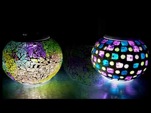 Bunte LED-Mosaikkugel, Mosaiklampe mit Solar