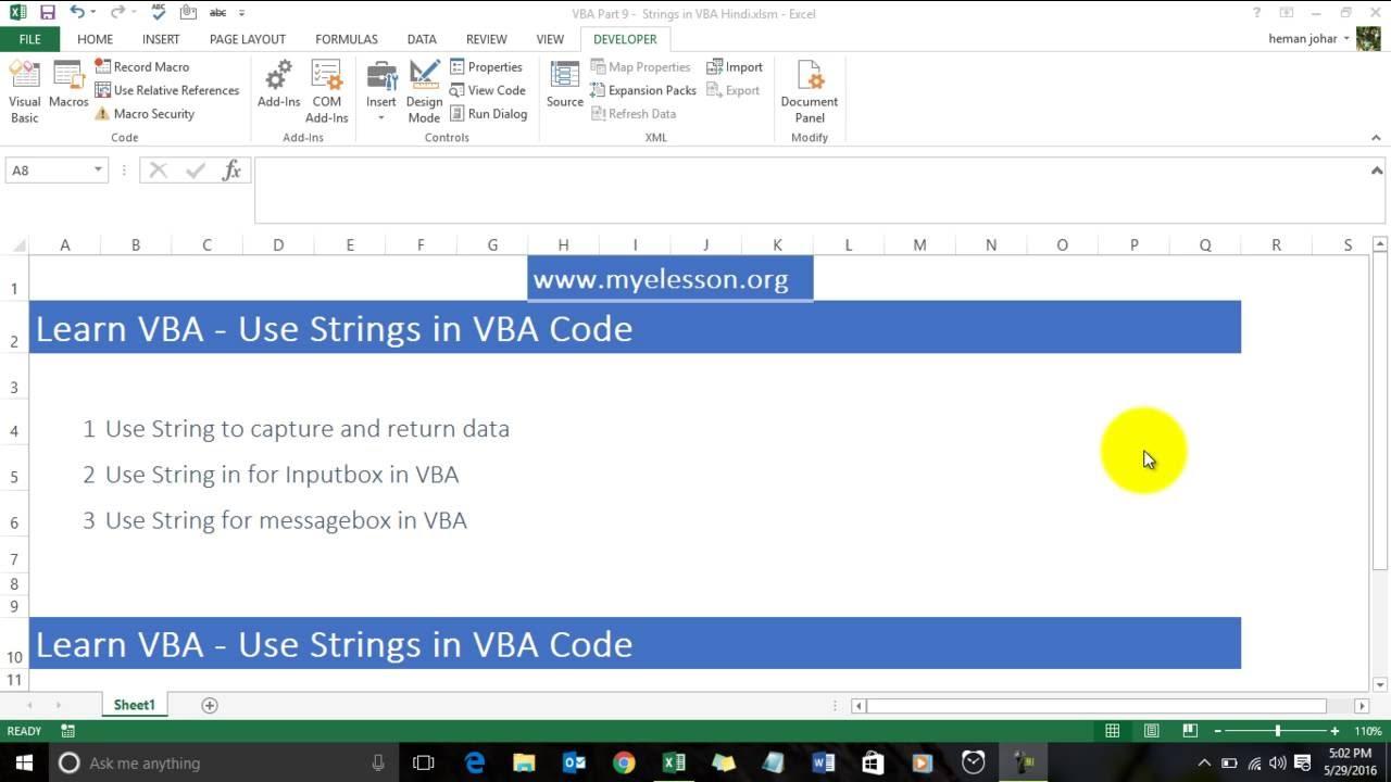 Learn VBA - Use Strings in VBA