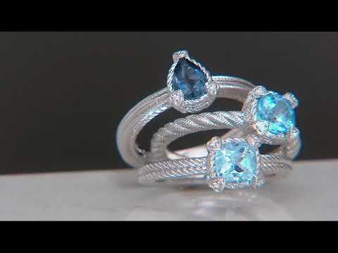 Judith Ripka Sterling or 14K Clad Set of 3 Gemstone Rings on QVC