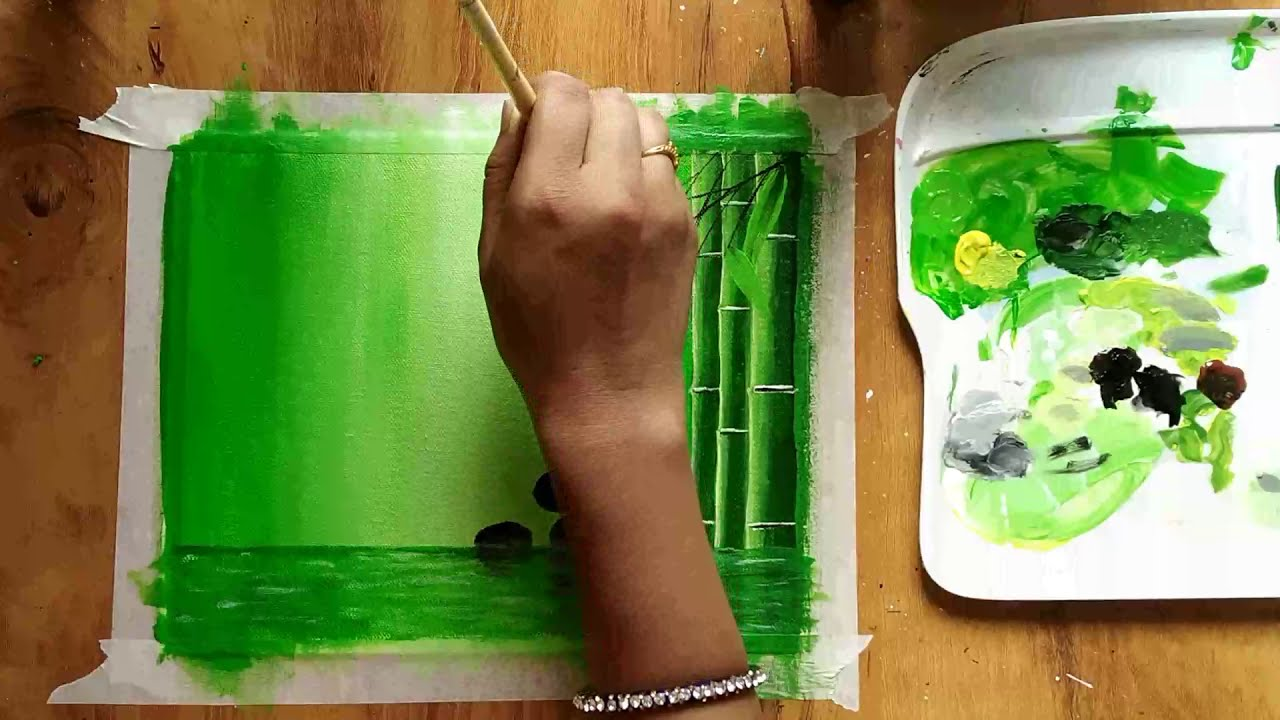 scenary painting using acrylic colors step by step tutorials by priya