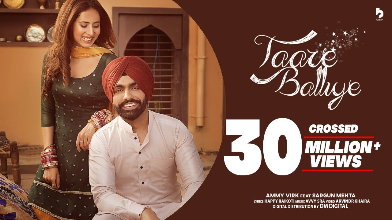 Taare Balliye Lyrics -  Ammy Virk Ft Sargun Mehta Full Song Lyrics | Avvy Sra - Lyricworld