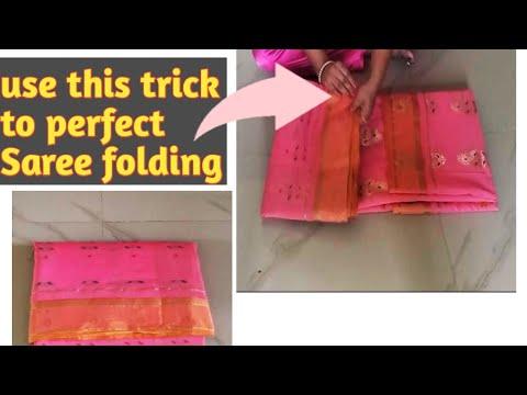 How to fold a saree with blouse ||Saree folding tips and tricks|| Saree Folding swatiyoumusttry