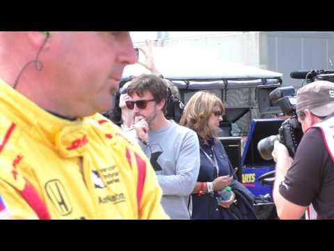 Fernando on the grid with Gil de Ferran at GP of Alabama