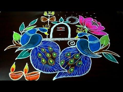 Karthika pournami rangoli..9 to 5 straight dots..easy peacock rangoli design..siva pooja kolam..