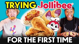 Americans Try Jollibee For The First Time! (Chickenjoy, Yum Burger, Burger Steak, Jolly Spaghetti)