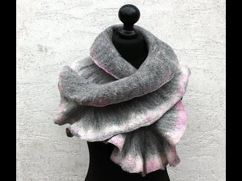 Filzanleitung für einen Schal aus Merinowolle - felting