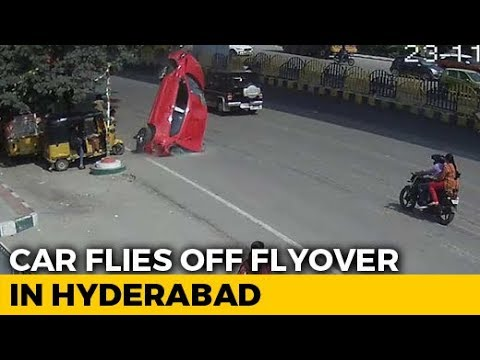 On Camera, Speeding Car Skids Off Hyderabad Flyover, Crashes, Kills 1