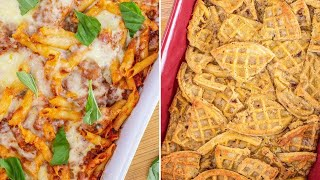 How To Make Chicken Parm Casserole + Bread Pudding With Frozen Waffles By David Venable