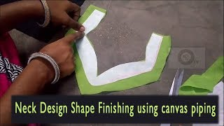 designer neckline finishing by canvas piping | Neck design cutting and stitching in tamil by canvas
