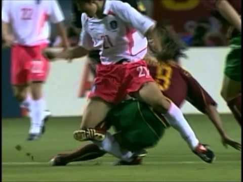 WC 2002. Joao Pinto red card for tackle on Park. Korea vs Portugal.