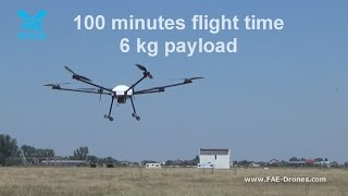 Professional hexacopter drone-  Daedalus by FAE - 100 minutes flight time