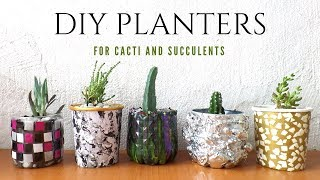 🌵 Five Planter / Plant Pot Ideas Using Recycled Materials   Planters For Cacti And Succulents