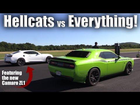Challenger Hellcat Vs Camaro Drag Race Leads Mile