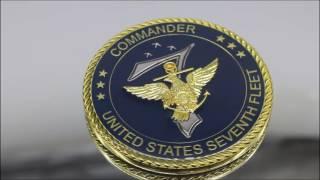 US Army Commander Seventh Fleet Commander US Navy Challenge coin Outstanding Service