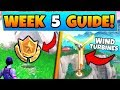 Fortnite WEEK 5 SECRET BATTLE STAR + CHALLENGES!- Wind Turbines, Race (Battle Royale Season 9 Guide)