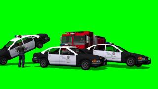 Fire truck crash into police cars - greenscreen effects