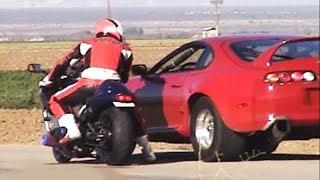 CARS Vs BIKES!!(1000hp Supra,2000hp Lambo,GSXR,GTR,Hayabusa,r34,EVO,ZX10R,r1,Skyline,Honda Civic)