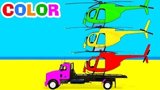 Color Helicopter on Truck & Spiderman Cars Cartoon for Children w Colors for Kids Superhero Video