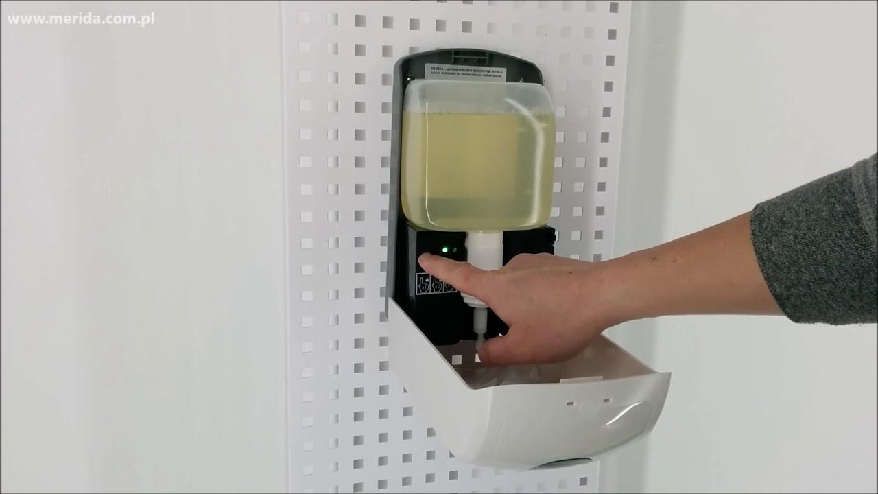 Bezdotykowy automatyczny dozownik mydła w pianie MERIDA ONE, na jednorazowe wkłady z mydłem w pianie, w tym z mydłem dezynfekującym, biały