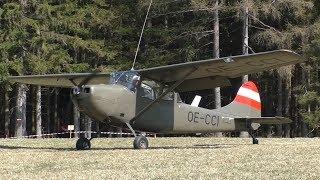 Cessna O-1 Bird Dog Takeoff At Airfield Rostock | OE-CCI