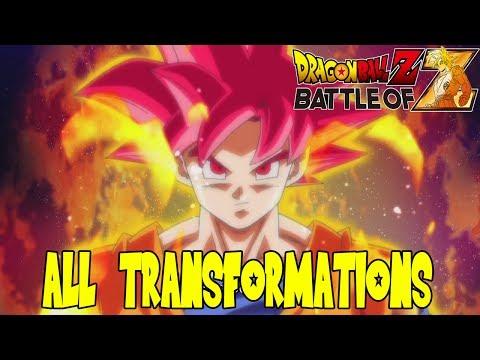 Dragon Ball Z: Battle of Z - All Transformation Animations (Super Saiyan, Great Ape, Frieza, & More)