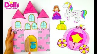 👸🎀👗💍💎PRINCESS CASTLE DOLLHOUSE FOR PAPER DOLLS QUIET BOOK FOR GIRLS