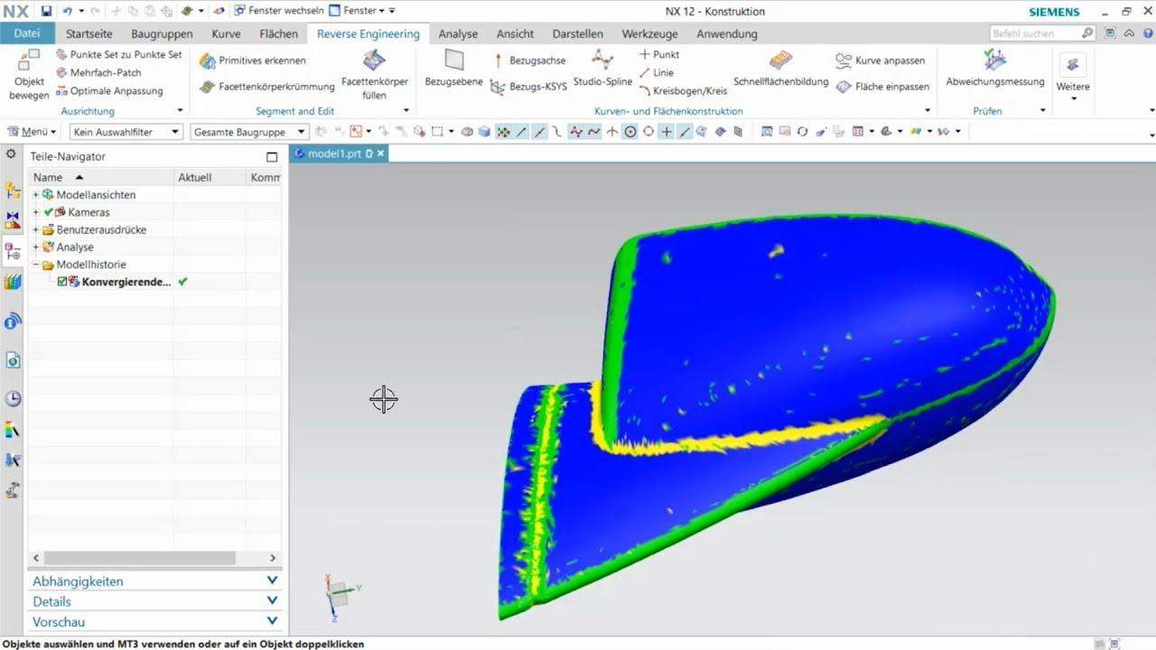 Vorschaubild: NX Tutorial: Erstellen einer manuellen Flächenrückführung komplexer Modelle