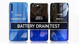 Samsung A7 2018 / Oppo F9 / Vivo V11 BATTERY DRAIN Test | Zeibiz