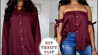 DIY Off The Shoulder Shirt | Mens Shirt Refashion