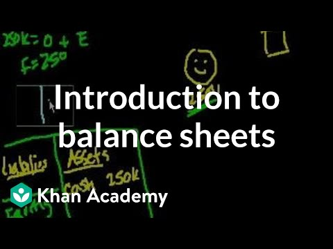 Introduction To Balance Sheets Video Khan Academy