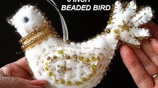 FELT BEADED BIRD, CHRISTMAS Ornament DECORATION, Free  Pattern, Diy, Partridge, Sewing For Beginners