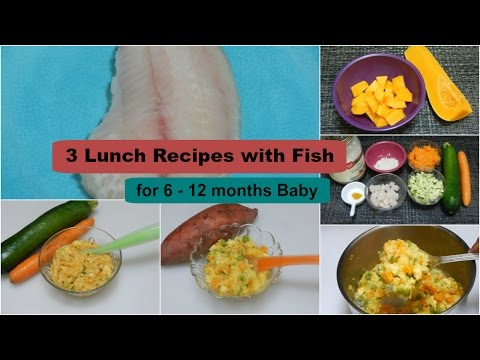 Video 3 Lunch/Dinner Recipes with Fish for 6 - 12 months Baby l Healthy Baby Food Recipe l Fish for Baby