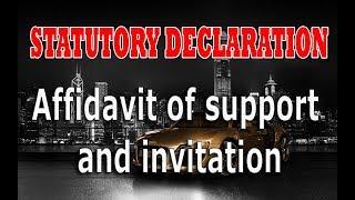STATUTORY DECLARATION Or Affidavit of Support and Invitation
