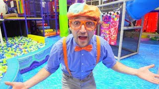 Blippi Plays at the Indoor Play Place | Learn Street Signs for Kids