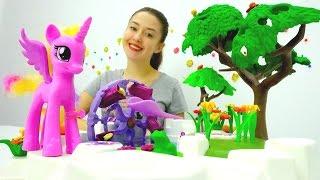 Видео для детей. NEW #ВЕСЕЛАЯШКОЛА. Май Литл Пони игрушка Каденс и Катя Капуки Кануки сажают цветы!