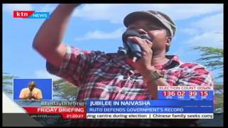 Deputy President William Ruto defends Jubilee government's record while in a rally in Naivasha