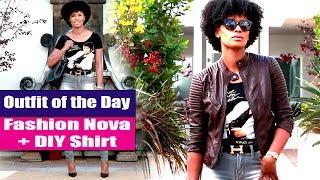 Fashion Nova Jeans & DIY T Shirt | OOTD