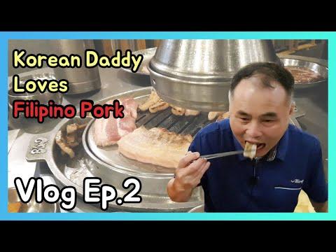 Korean dady went Korean restraurant in Manila Bay(Philippines), Korean father tried Filipino Pork