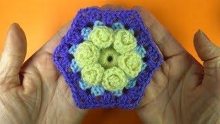 Шестигранный мотив с цветком Crochet flower motive   Урок вязания 372