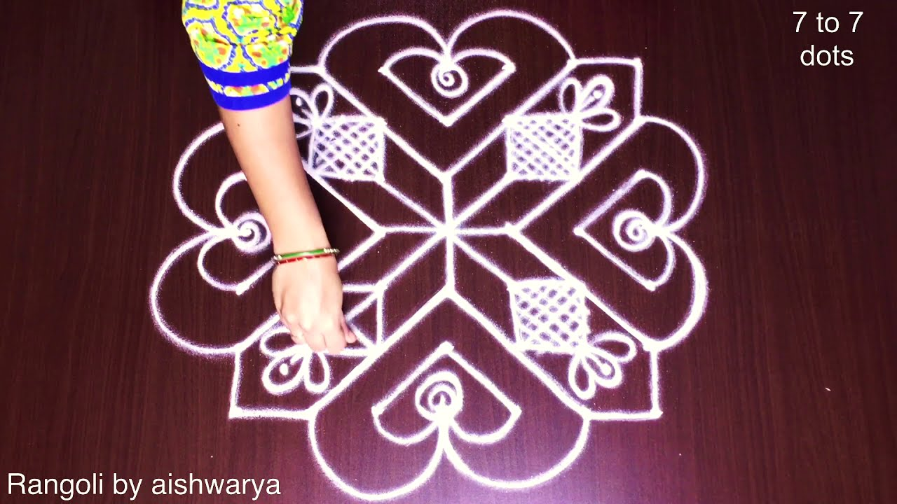 dotted rangoli deisgn for valentines day by aishwarya