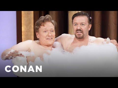 Conan a Ricky Gervais ve vaně