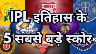 Top 5 Highest Team Total Score In IPL History | CSK,RCB,MI,KXIP,DC,RR,SRH,KKR